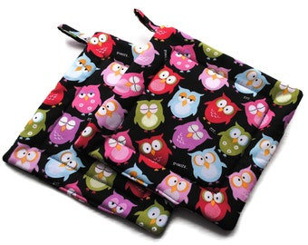 Handmade Quilted Pot Holders Owl Set of 2