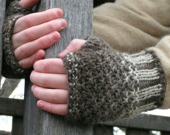 gloves fingerless mitts natural color wool handknit YARN MAGIC Mitts Unisex Select Size Xsmall thru XXlarge