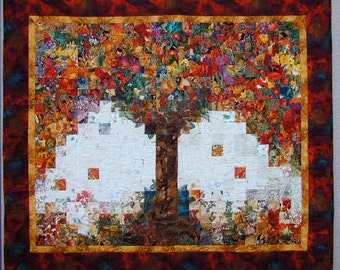 Tree of Plenty Landscape Wall Quilt, Wall Hanging Art Quilt