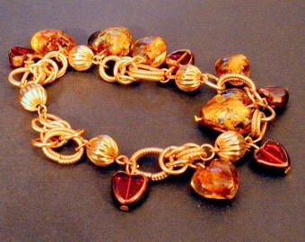 Murano Handblown Red Glass and Golden Hearts on Vintage Gold Chainmaille Charm Bracelet