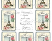 Large digital download collage Roses from Paris ATC ACEO gift tags ECS buy 3 get one free