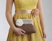 1 RUSTIC Wedding Clutch with White Flower Brooch- Bridesmaids Gifts- Bridal Purse- Wedding Clutches