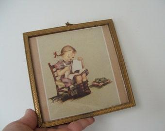 framed print---vintage---signed georganne---girl with kitten---frame shop Helena Montana