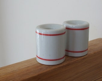 Pair of Porcelain Candleholders White with Red Stripes