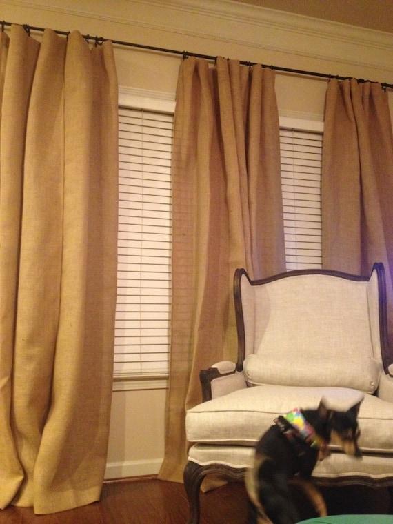 pair custom burlap drapes 2 burlap panels custom sizes lined