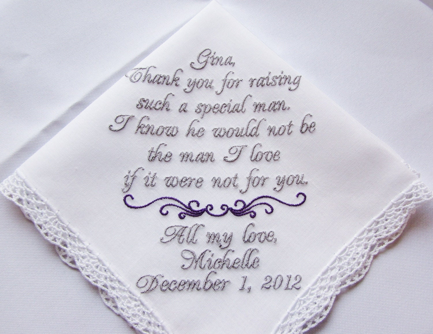 Personalized Mother Of The Groom Keepsake Wedding Handkerchief