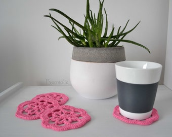 Pink cotton crochet coasters, set of 4, I928