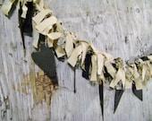 Prim Black Hearts Raggy garland with black tan and mottled print fabrics