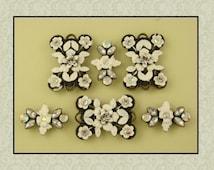 2 Hole Beads QTY 6 Designer Florals with Clear & Aurora Borealis Swarovski Elements WEDDING Bridal Jewelry