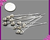 12 Antiqued Silver Fancy Headpins 2 inch with 5.5mm Spacer Bead Head