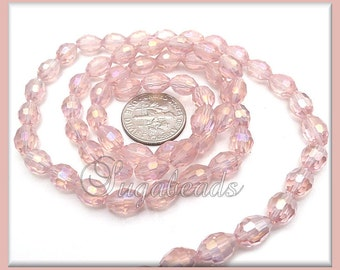 35 Oval Barrel Beads - Pink Faceted Crystal Beads - AB Crystals 8mm x 6mm