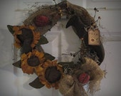 Sunflowers and Crows Wreath