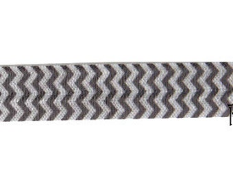 5 YARDS 5/8 inches Print Fold Over Elastics FOE - CHEVRON Silver White