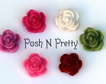 TEN Mini Rose Bloom Resin Cabochons - 13mm