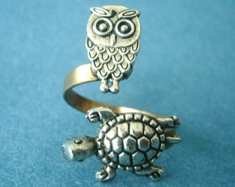 Silver turtle ring with an owl, wrap ring, adjustable ring, animal ring, silver ring, statement ring