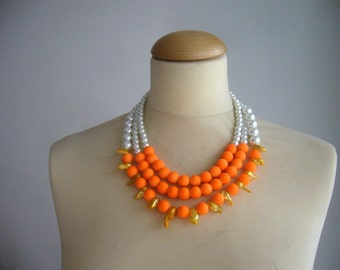 bridal jewelry, multi strand necklace, statement necklace, wedding pearls necklace with neon orange