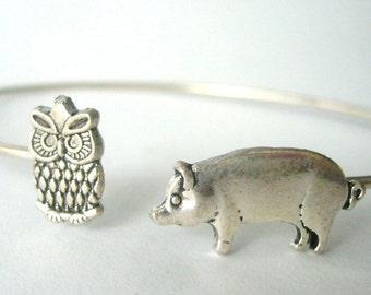 Owl pig bracelet wrap style