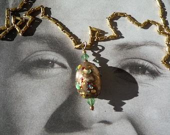 Vintage hollywood  necklace glitz bead 1950s