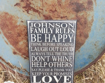 Family Rules with Your Custom Last Name Typography - Subway Art - Primitive - Quote Saying Distressed Wooden Sign - Custom Signs - Decor