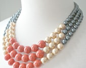 SALE: Color Block Triple Decker Necklace - in Ablaze - 3 Strand Colored Pearl Necklace