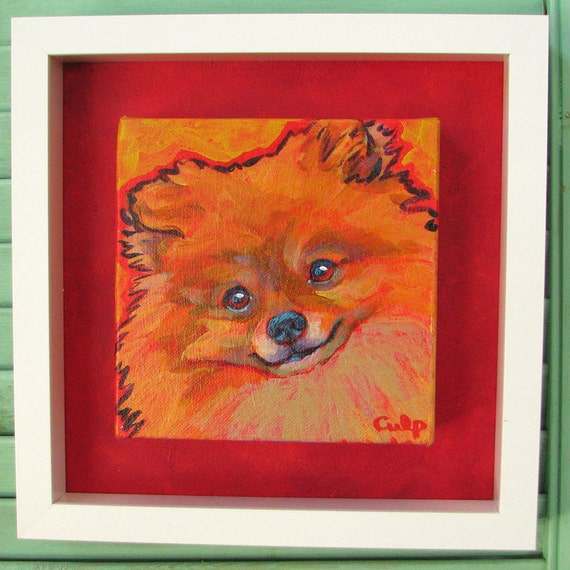 Orange POMERANIAN Dog Art Original Painting on Canvas 6x6 Framed by Lynn Culp