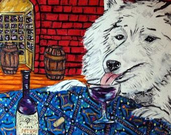 samoyed wine dog art tile coaster  JSCHMETZ modern abstract folk pop art AMERICAN ART gift