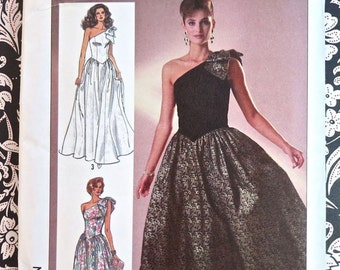 1980 Womens Dress Pattern with One Shoulder Neckline, Full Skirt ,and Three Lengths - Simplicity 7842