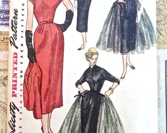 Vintage 1950s Womens Dress Pattern with Jacket and Overskirt - Simplicity 4499