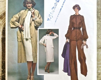 Vogue 1497 - 1970s Emanuel Ungaro Womens Dress Pattern with Coat, Bouse, Scarf, and Pants