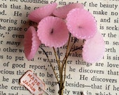 6 Vintage Wired Glass Pale Pink Flowers