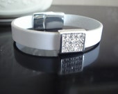 White Italian Leather Bracelet with Pave Crystal Cube