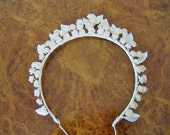 1930s Bridal headpiece / wax Orange Blossom / Wedding veil head piece with wax leaves