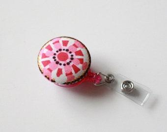 Badge Reel Id Holder pink flower
