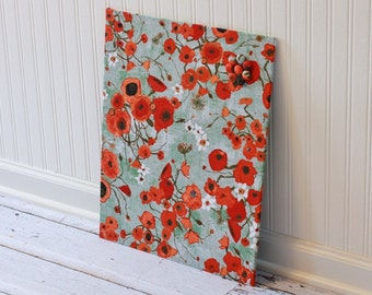 Fabric covered magnetic bulletin board 16 inch x 20 inch covered in poppies on greenish gray