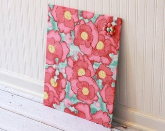 Fabric covered magnet board 16 inch x 20 inch covered in Poppies on Light Blue