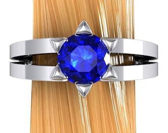 Star of David Ring, Blue Sapphire in Palladium or 14k White Gold - Free Gift Wrapping