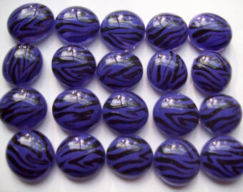Handpainted glass gems party favors decorations  zebra print purple and black