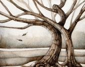 tree art woodburning neutral woodland tree of life landscape print