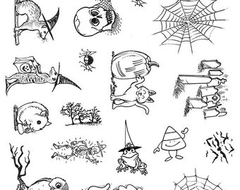 Full Sheet of Halloween Rubber Stamp Dies, Cat, Ferret, Frog, Owl, Hamster, Bats (Plate 74)