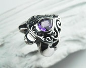 Turtle Ring - Sea Turtle Ring - Sterling Silver Amethyst - Unique Gemstone Turtle Jewelry - Nautical Sea Life - Amethyst February Birthstone