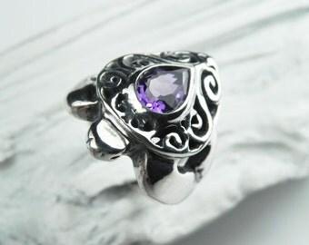 Turtle Ring Amethyst - Amethyst Sea Turtle Ring - Silver Gemstone Turtle Ring - Amethyst February Birthstone Ring - Honu Jewelry
