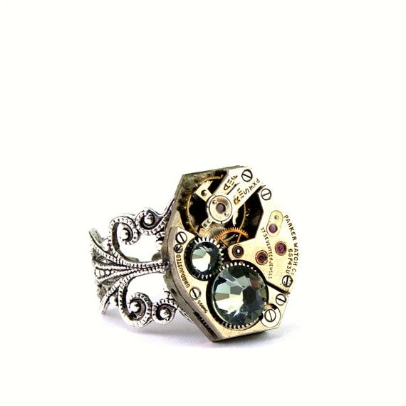 Steampunk  Ring - Lovely Clockwork Design with Black Diamond Swarovski Crystals - PROMPTLY SHIPPED - Steampunk Jewelry By London Particulars