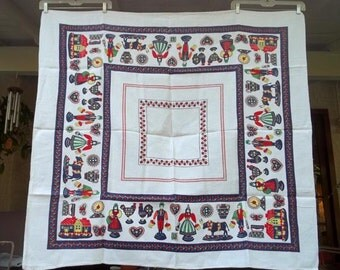 "Gorgeous Vintage  Linen Penn Dutch Folk Art Tablecloth 50"" x 47"".....Excellent....Pressed & Folded"