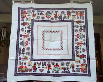 "Gorgeous Vintage  Linen Penn Dutch Folk Art Tablecloth 50"" x 47"".....Excellent....Pressed & Folded"