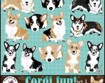 Corgi dog graphics - 12 gorgeous full color huge corgis in 4 positions black brown and tricolored [INSTANT DOWNLOAD]