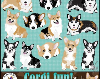 Corgi dog graphics - 12 gorgeous full color corgis black brown and tricolored