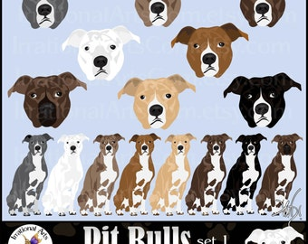 Pit Bulls set 1 - 16 gorgeous full color 8 huge dog graphics and 8 faces [INSTANT DOWNLOAD]