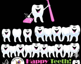 INSTANT DOWNLOAD Happy Teeth Pediatric dentist set 3 graphics teeth toothbrush floss