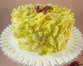 Lemon Yellow Cake Faux Flower Petal Cake with a Beaded Flower on Top