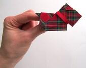 Dog Brooch, Origami Dog, Origami Terrier, Origami Scottie, Red Tartan Cotton